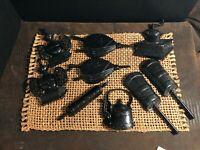 9 PIECE VTG Sexton Cast Iron Metal Wall Hangings Kitchen teapot coal pan Churn+