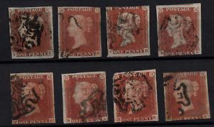 GB QV 1841 1d red imperfs x 8 fine used all Maltese Cross WS22402
