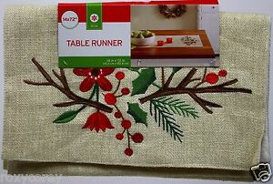 Christmas Embroidered Holly Cream & Gold Sprig Table Runner 14x72 in NWT