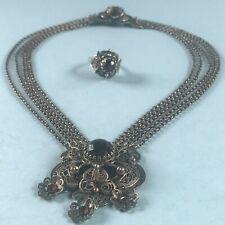 Barock Silber Filigran Halskette Kropfkette Erbskette + Ring Tracht Bayern ~1880