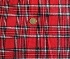 """Cotton Flannel Fabric RED BLACK WHITE PLAID Check Shirting Quilting 55""""W x BTY"""