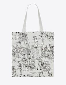 Saint Laurent Día De Los Muertos Print Tote Bag - YSL Rive Droite