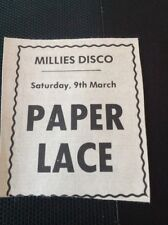 K3-3 Ephemera 1974 Advert Millies Disco Paper Lace Pop Group Margate
