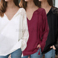 Womens Long Sleeve Lace V Neck T Shirt Ladies Floral Blouse Tunic Tops Plus Size