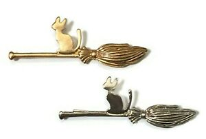 Cat Hair Grip Pin Brooch New Silver Gold Broomstick Witch Slide Magic Halloween
