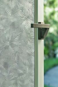 New 24x36 ELM Leaves Etched Glass Privacy Static Cling Window Film