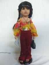 "Duck House Heirloom Dolls 18"" Porcelain Doll With Stand: Brisa Islander Samoan"