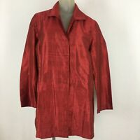 Chico's 2 Red 100%  silk top blouse tunic jacket size L pockets