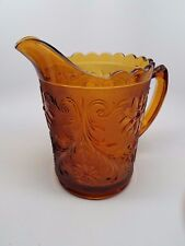 Vintage Glass Pitcher 60's 70's Detail Floral Pattern Heavy Thick Glass Gorgeous