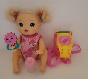 Hasbro Baby Alive Baby Go Bye Bye Blonde Hair Doll, Includes Baby Doll Carrier