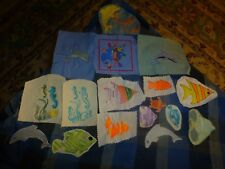 Vintage Homemade Tropical Fish Dolphin Embroidery Remnant Patch Lot Of 17 Unique