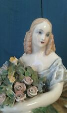 Guglielmo PUGI -porcelaine-figurine femme bouquet de fleurs- antique