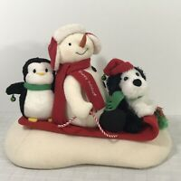 Hallmark Jingle Pals Sleigh Ride Penguin Dog Snowman Musical Christmas 2007