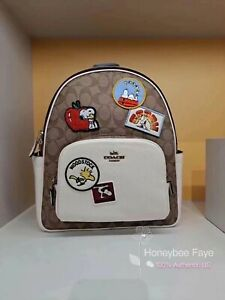 NWT Coach X Peanuts Court Backpack In Signature Varsity Patches No Rush Ship