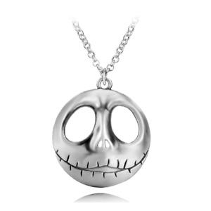 Large Nightmare Before Christmas Jack Skellington Head Necklace Halloween Silver
