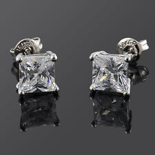 2* Women Men Solid Diamond Crystal Square Ear Stud Earrings Christmas Gift Sale