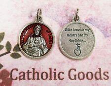 "Sacred Heart of Jesus - With Jesus in my Heart.. -  Red Enamel OX 7/8""  Medal"