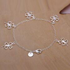 Fashion 925 Silver plated Jewelry Flower Chain Bracelet For Women H185