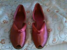 Vintage Daniel Green Mauve Satin House Slippers 7.5 Aa Details And Fabulous!