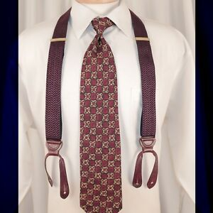 TRAFALGAR  Burgundy Red with Navy Blue and White Straps Geometric Man Suspenders