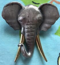 "Elephant Brooch Pin JJ Figural Pewter Silvertone Gold Tusks Trunk Up XL 2"" +Wrap"