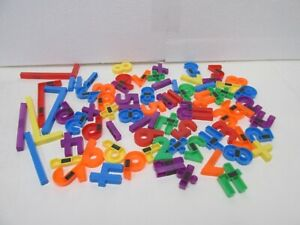 Vintage Plastic Number & Math Symbols Magnetic Alphabet Letters Lot Of 78 t6044