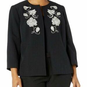 Kasper Black Embroidered Palm Desert Jacket sz 6P