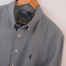 Para hombres Genuino Polo Ralph Lauren Gris camisa de mangas largas Talla L Grande