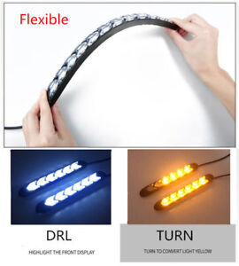 2x Car 6 LED Amber/White Switchback Flowing Strip Arrow DRL Turn Signal Light