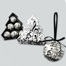 Set 6 boules de Noël blanche avec NOTE MUSIQUE & SCORES crochet satin noir