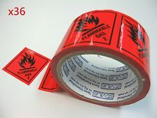 36 Rolls Flam Gas 2 Labels 100mmX50m Fluoro Red Perforated Sticker Roll