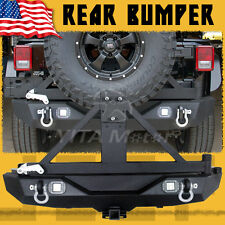 Rear Bumper W/Lock & Built-in LED light &Tire Carrier For 07-18 Jeep Wrangler JK