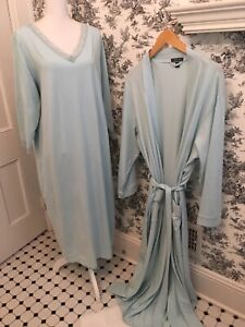 L.L. Bean womens nightgown and robe 2 piece set Light Turquoise Size 2X