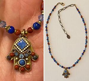 MICHAL GOLAN Handmade in NYC Multi Gemstone HAMSA HAND Pendant Beaded Necklace