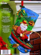 "Bucilla Fishing Santa ~ 18"" Felt Christmas Stocking Kit #86139 Boat Cabin, Woods"