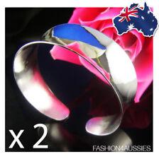 2 x 925 Sterling Silver Bracelet Bangle Wide Heavy Cuff Plain Broad Chunky 2.5cm