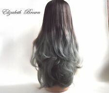 New U Shape 3/4 Wig Smoky Grey mix Gradual Change Layers Wavy Half Wig C003-Grey