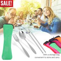 3in1 Stainless Steel Knife Fork Spoon Bag Travel Cutlery Portable Tableware Set