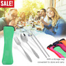 3in1 Stainless Steel Knife Fork Spoon Bag Travel Cutlery Portable Tableware Set