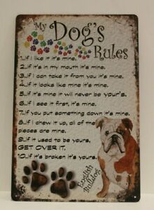 New Dog's Rules Tin Rustic Look Sign Wall Art Home Decor Funny Dog Lovers Gift