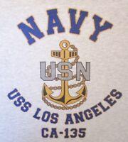 USS LOS ANGELES CA-135* CRUISER U.S NAVY W/ ANCHOR* SHIRT