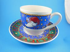 Mary Englebreit Christmas Santa Cup & Saucer Believe Very Nice!