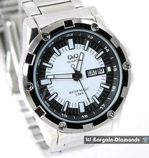 men's steel tone day date clubbing business watch designer bracelet black EN ES