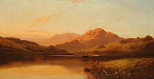 Oil painting Cattle watering in a highland landscape at sunset with mountain 36""