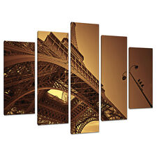 Set of 5 Brown Sepia Canvas Wall Art Pictures Paris Prints France 5013