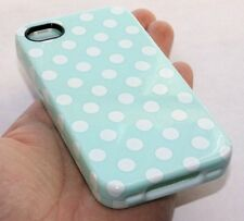 iPHONE 4 4G 4S HARD&SOFT RUBBER DUAL HYBRID ARMOR CASE TURQUOISE BLUE POLKA DOTS
