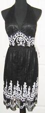 Scala Black/White Bead & Rhinestone 100% Silk Formal Halter Dress, L - MSRP $208