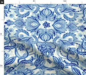 Watercolor Bohemian Blue And White Boho Navy Spoonflower Fabric by the Yard