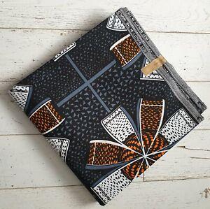 Super Wax Ankara Fabric - White & Orange Bows