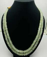 Top Quality GREEN QUARTZ Flower Shape Beaded Necklace With Silk Cord Closure
